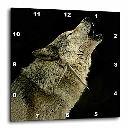 3dRose DPP_724_1 Timber Wolf Wall Clock, 10 by 10-Inch