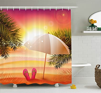 Ambesonne Orange Shower Curtain Sunset At The Beach With Flip Flops Umbrella And Palm Trees