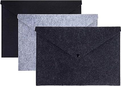 Carpeta para Documentos de archivos de fieltro expandido A4 con Cierre a Presión - Carpetas para Documentos, Certificados, Recibos Para Oficina De Escuela, Papelería, Estudiante 3 unidades: Amazon.es: Oficina y papelería