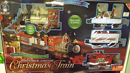 Train Set North Pole Junction Christmas Train 20/' Track Light Sound Package of 2