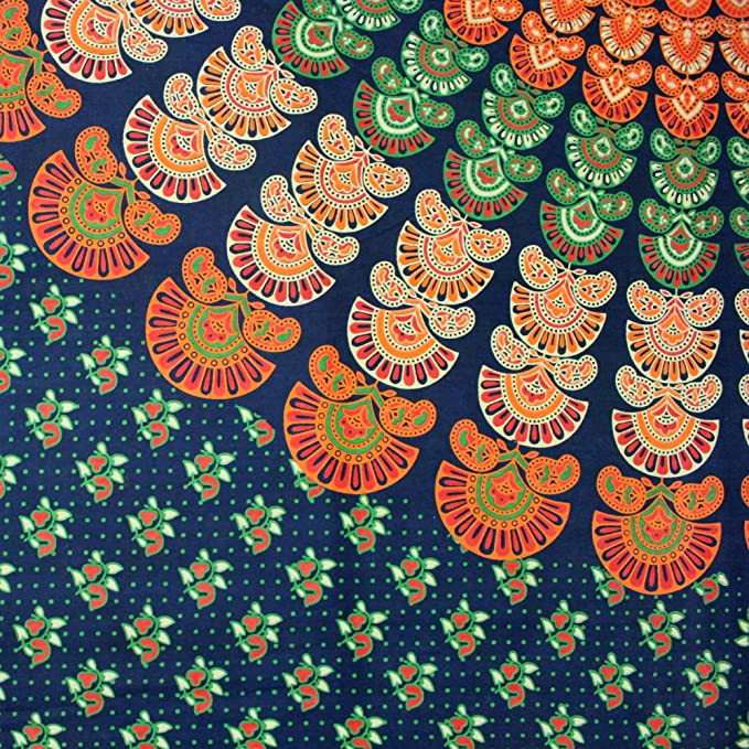 Amazon Com Sanganer Mandala Peacock Cotton Floral Tapestry Wall Hanging Tablecloth Bedspread Bedsheet Beach Sheet Dorm Decor Twin 68 X 102 Inches Home Kitchen
