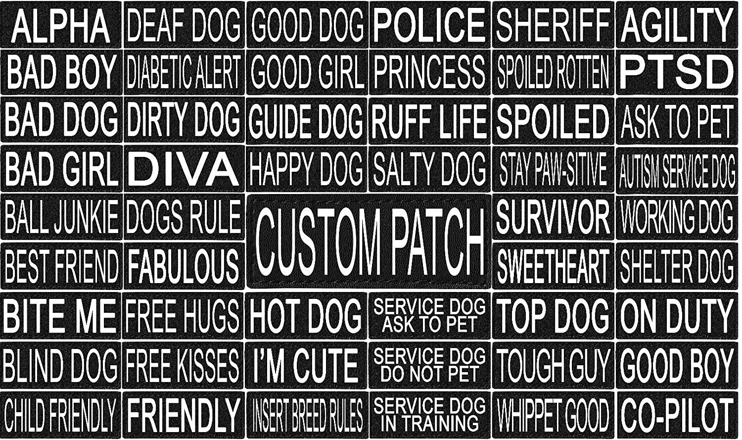 101 Outlets Personalized Velcro Removable Patch Label Tag For Dog Harness and Collar Agility Dock Diving Sport Dog