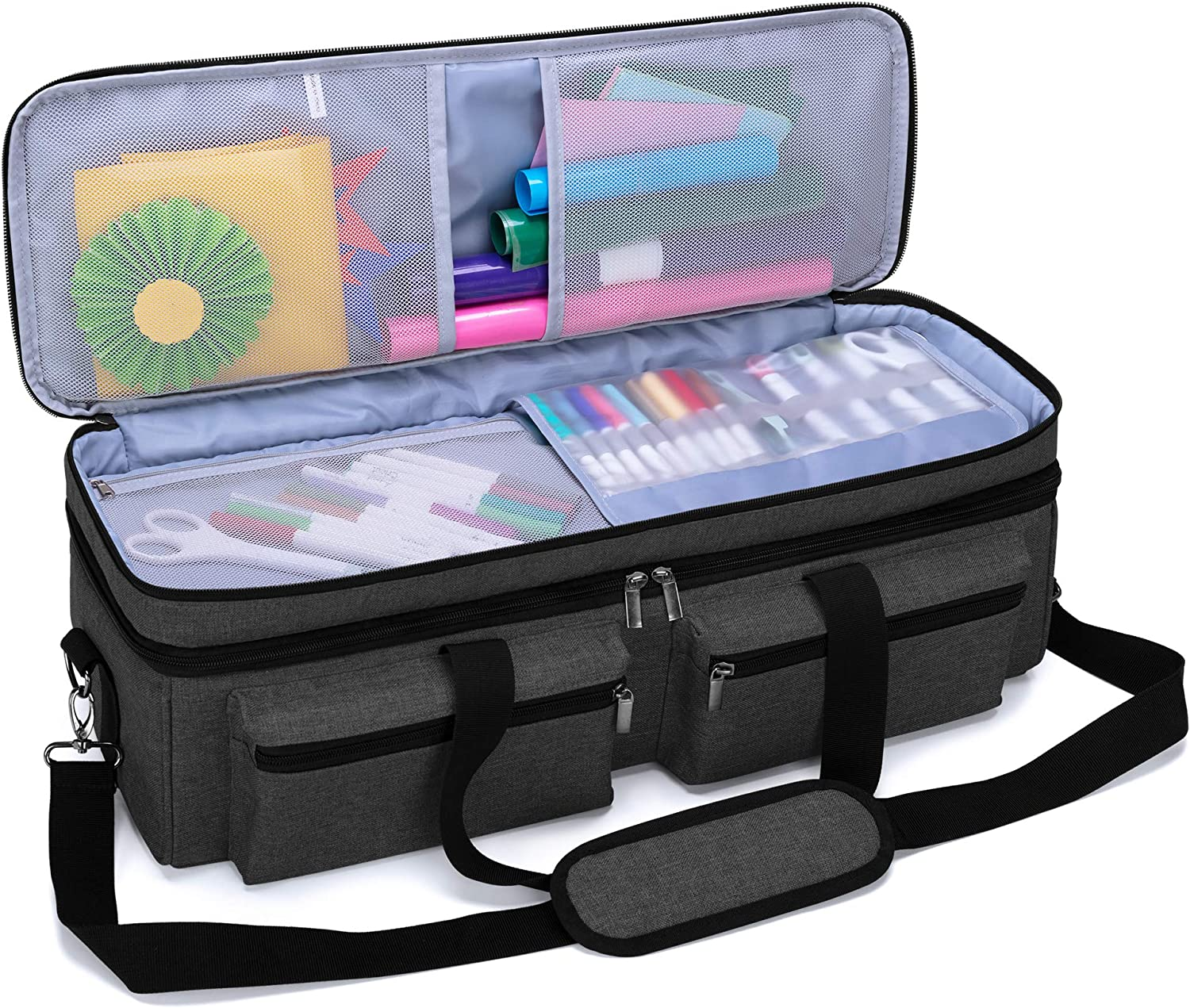 Black Luxja Tote Compatible with Cricut Accessories Bag Only, Patent Pending Carrying Bag Compatible with Cricut Supplies