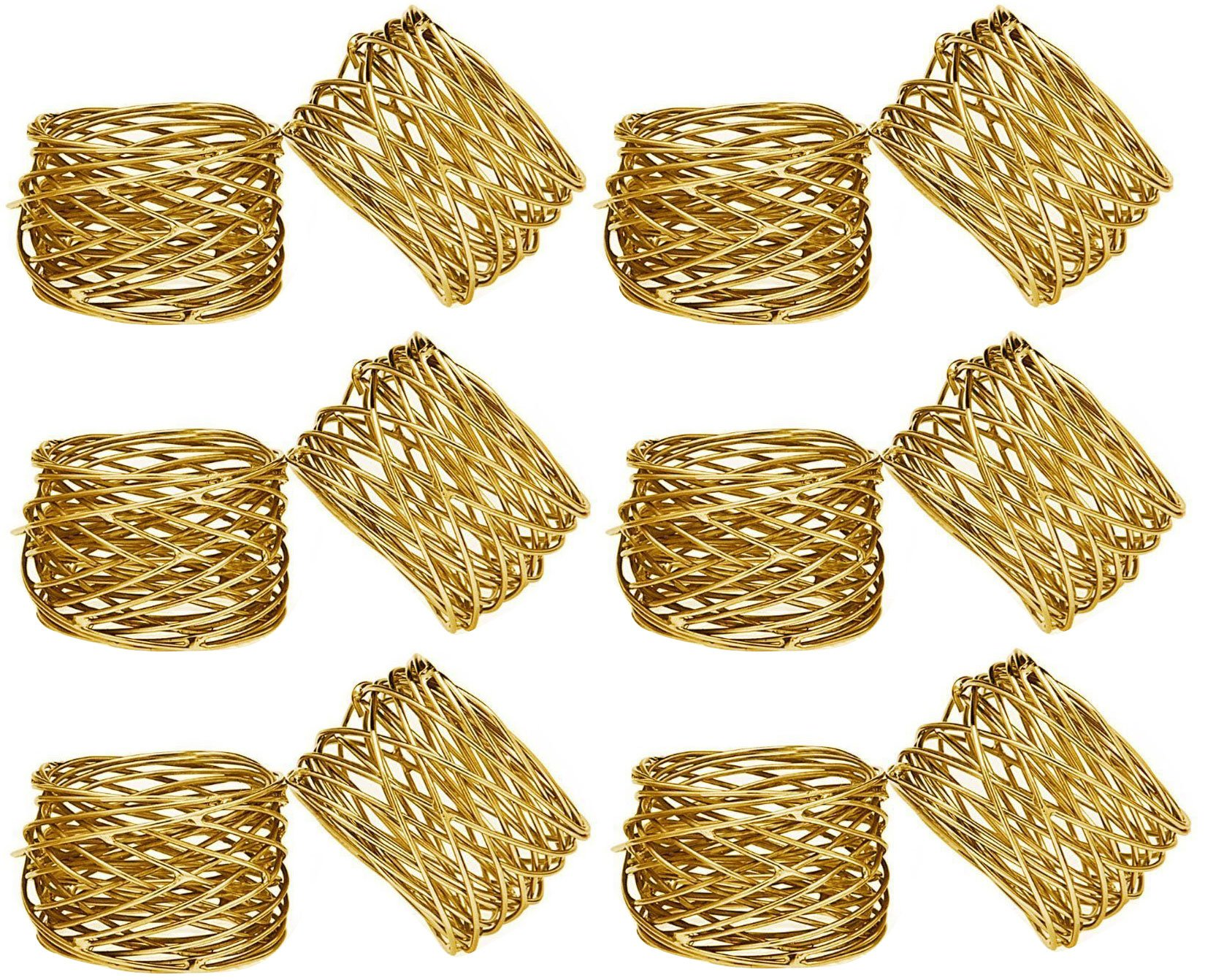 SKAVIJ Round Mesh Gold Napkin Rings Brass Round Weddings Dinner Parties Every Day Use (Gold, 12)