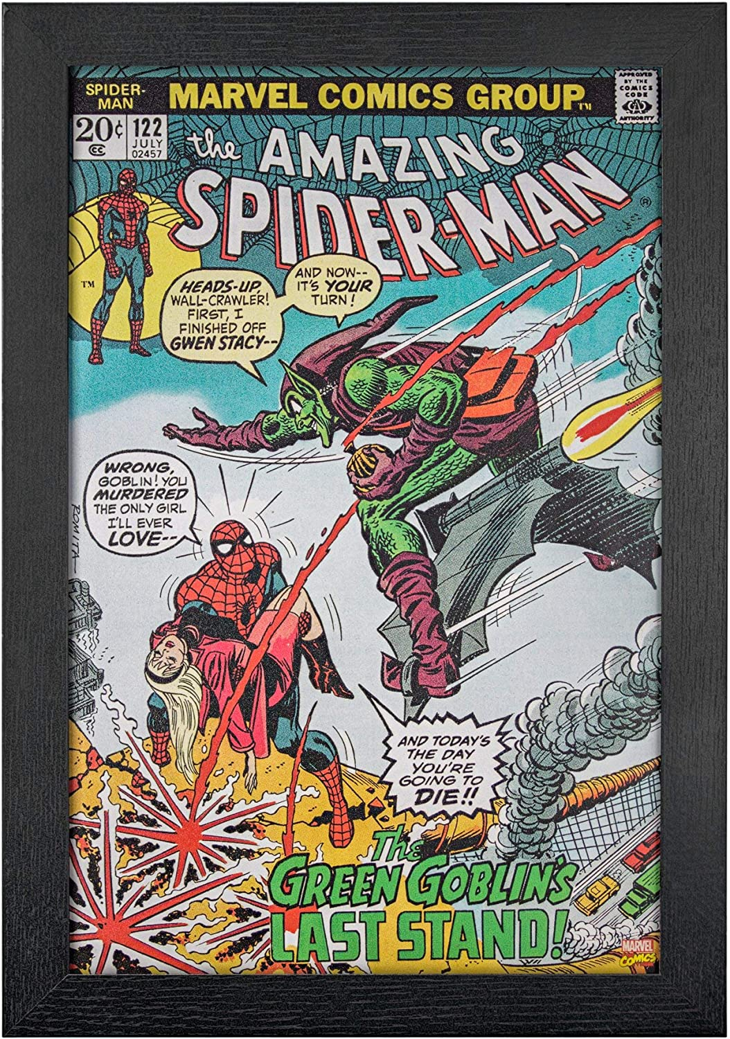 Marvel Comics Spider-Man and The Green Goblin's Last Stand Comic Book Cover, Replica of Classic 1973 July #122 Cover, 19