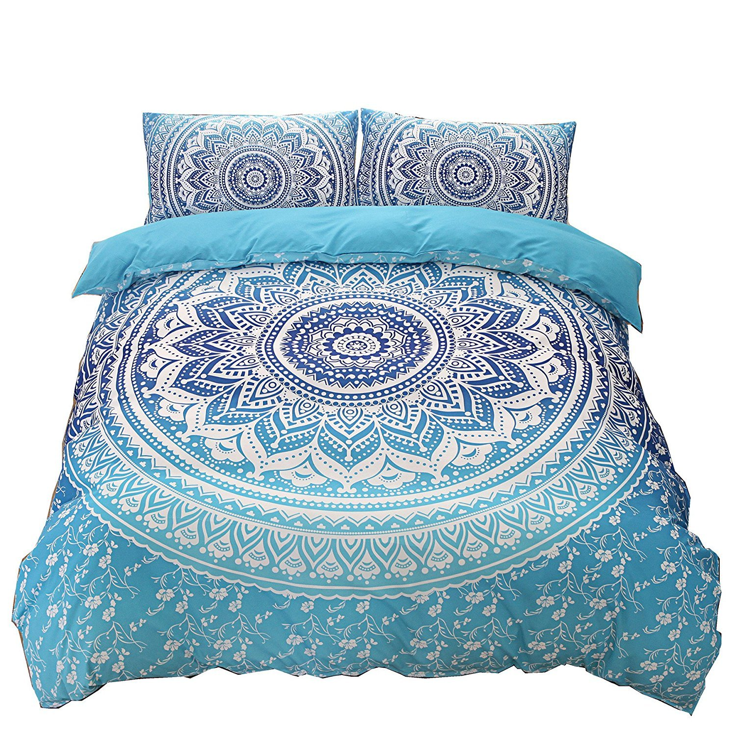 DasyFly Bohemian Bedding Blue Mandala Duvet Cover Set Queen Size 3pc Luxury Boho Chic Floral Bedding Soft Microfiber Mandala Hippie Quilt Duvet Cover with Zipper Closure