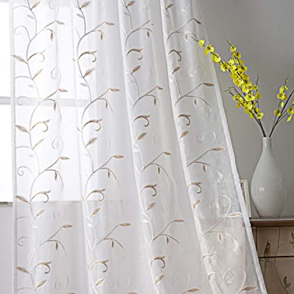 Amazoncom Visiontex Sheer White Curtains Embroidered With Gold