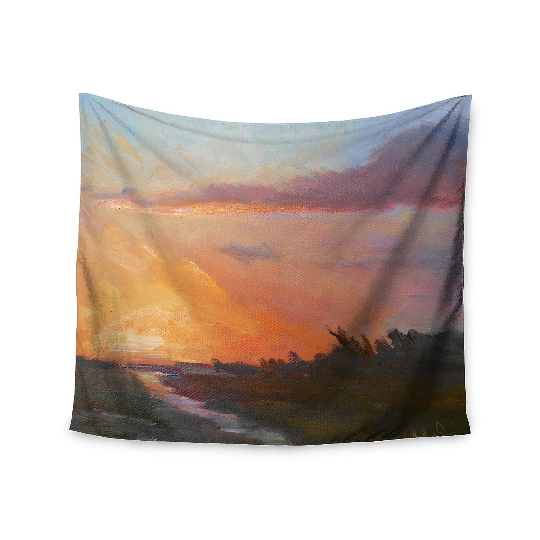 51 x 60 Kess InHouse Carol Schiff Golden Hour Over The Marsh Orange Watercolor Wall Tapestry