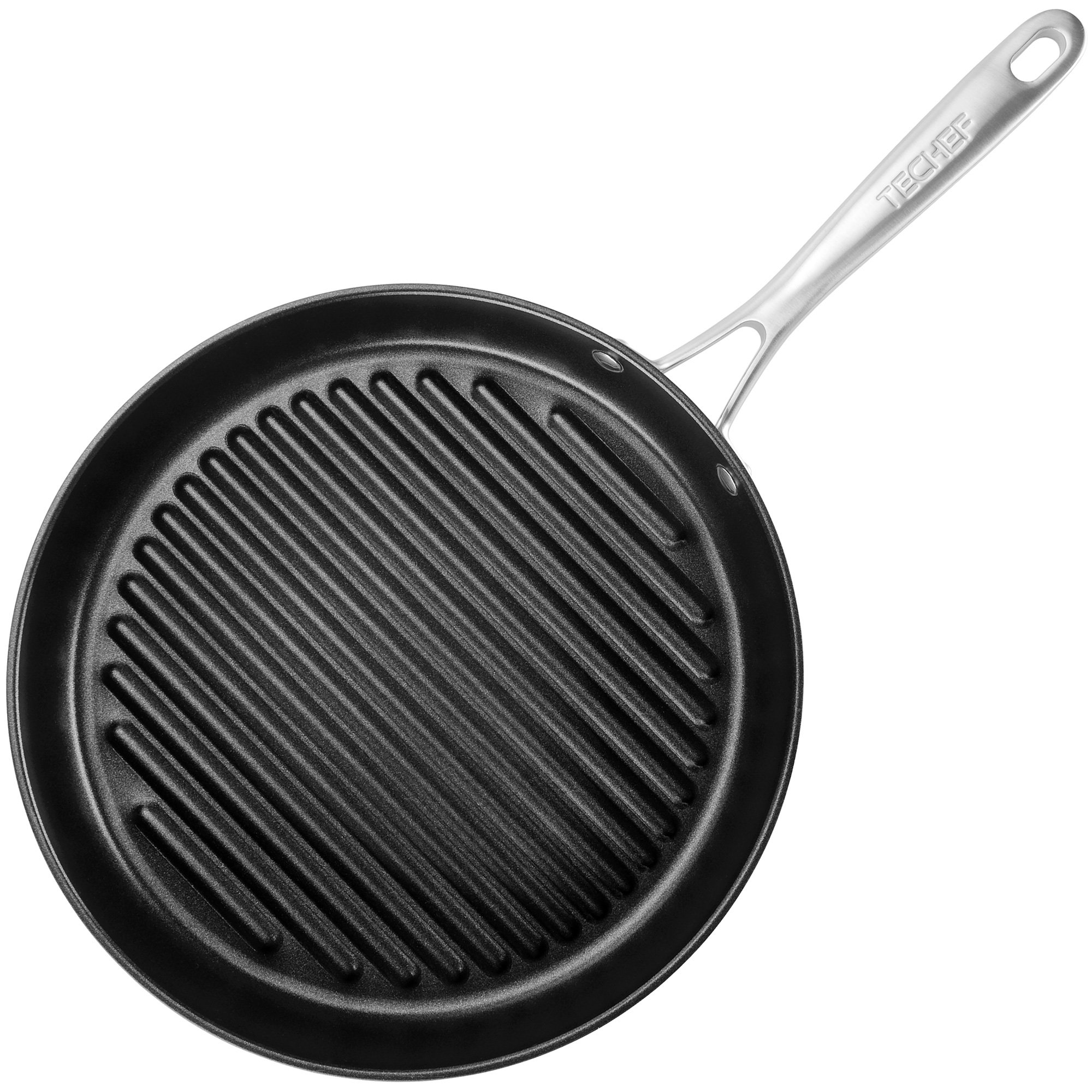 TECHEF OXGP Onyx Collection 12'' Grill Pan New Teflon Platinum Non-Stick Coating (PFOA Free), Made in Korea'', Black