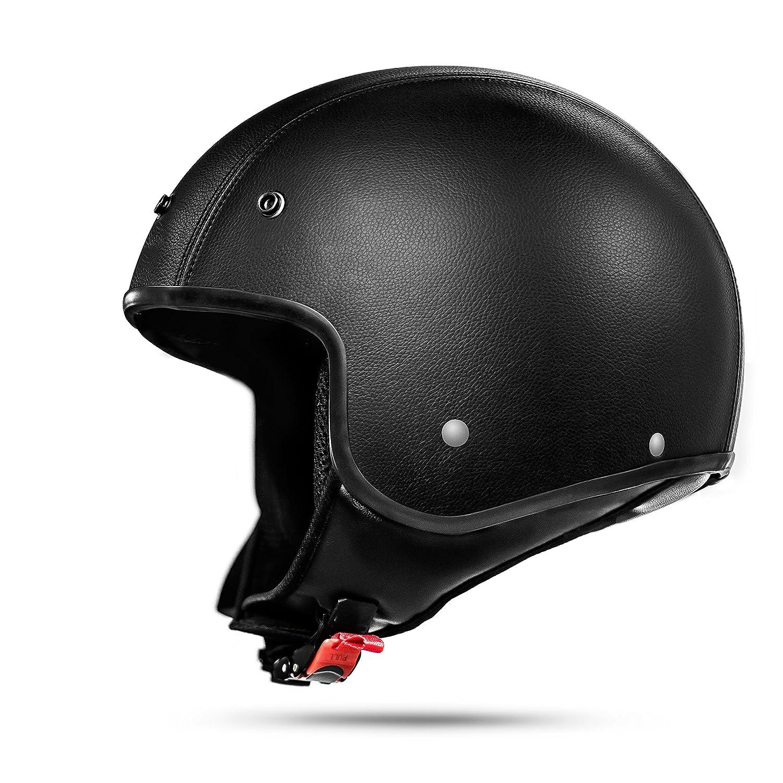 Amazon.es: ATO Classic Piel Casco Jet en negro mate - Muy Ligero - Actual Seguridad Norma ECE 2205 - Tamaño: S M L XL