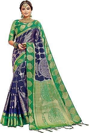Estilo instantáneo Sari para mujer Banarasi Art Silk l tradicional india boda regalo Diwali con blusa sin costuras Azul azul Taille unique: Amazon.es: Ropa y accesorios