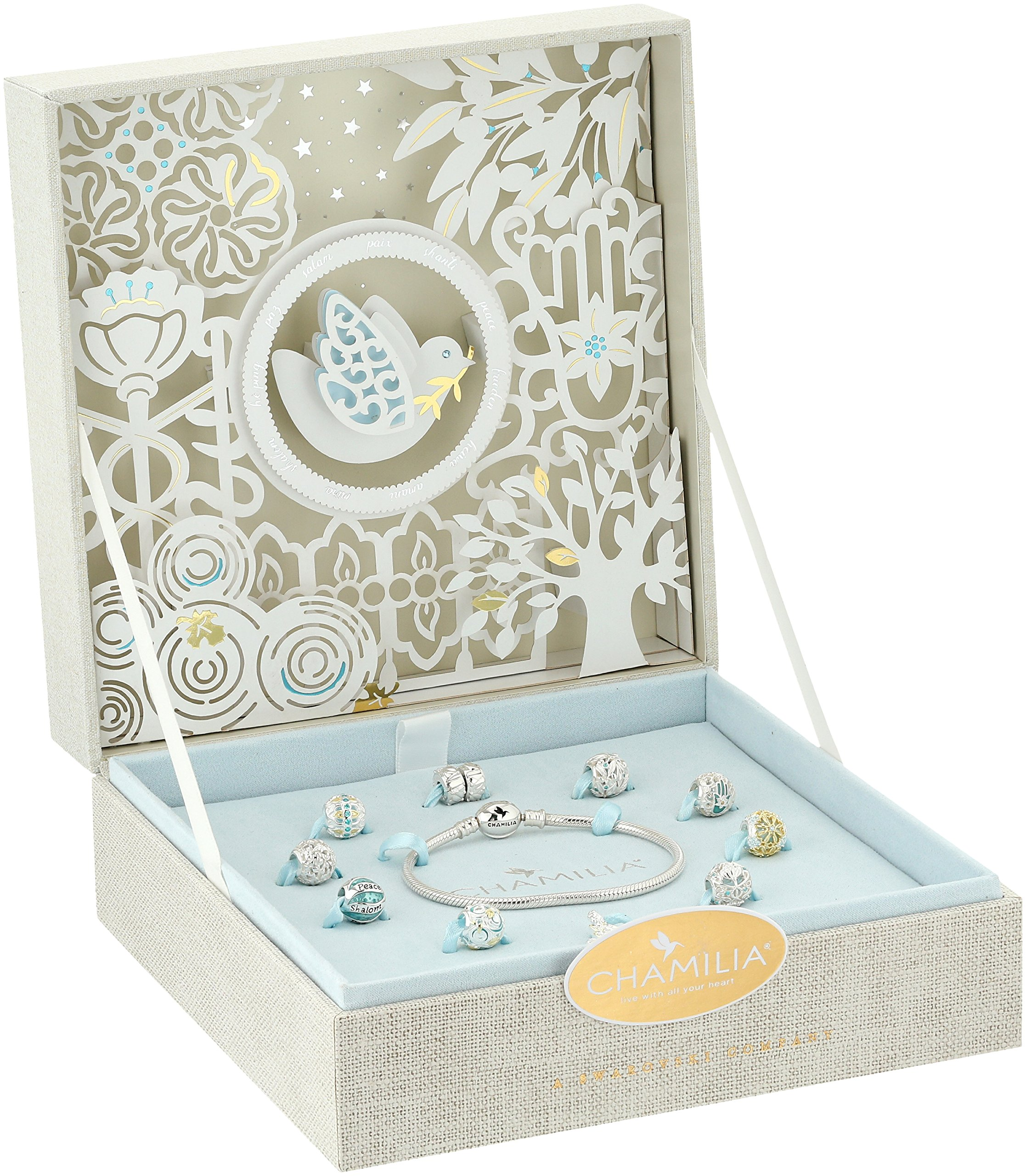 Chamilia 2017 Limited Edition Peace On Earth Gift Set - Mint Swarovski Zirconia And Gold Electroplating Jewelry Set