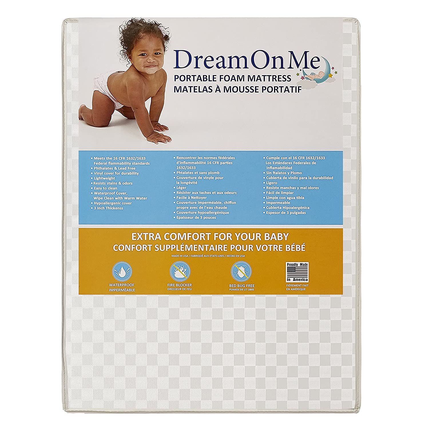 Dream On Me Graco Travel Lite Portable Mini Play Yard Firm Mattress, White 32FTI-GR