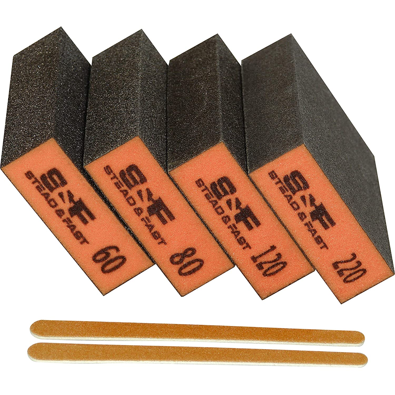 Sanding Sponge, 60 80 120 220 Coarse Medium Fine Grit Sanding Blocks, Sander Sponges for Drywall Metal, Sandpaper Sponge Sanding Block for Wood 4 Pcs by S&F STEAD & FAST