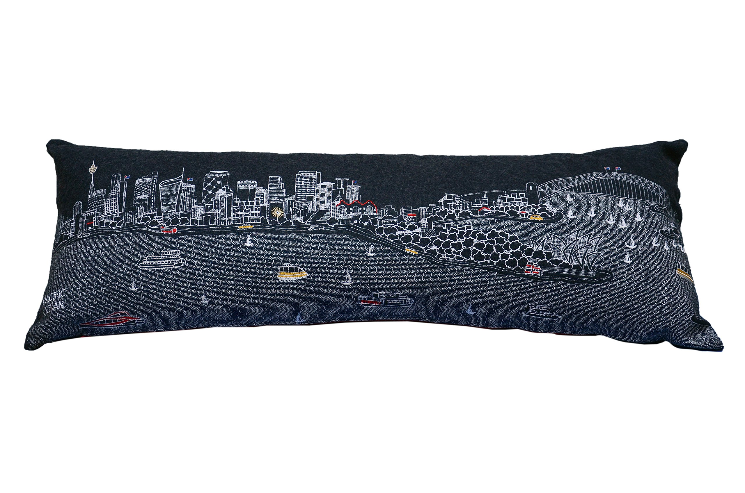 Beyond Cushions Polyester Throw Pillows Beyond Cushions Sydney Australia Night Skyline King Size Embroidered Pillow 46 X 14 X 5 Inches Black Model # SYD-NGT-KNG