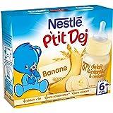 Nestlé Bébé P'tit Dej Banane - Brique Lait & Céréales des 6 Mois - 2 Briques de 250ml - Lot de 4
