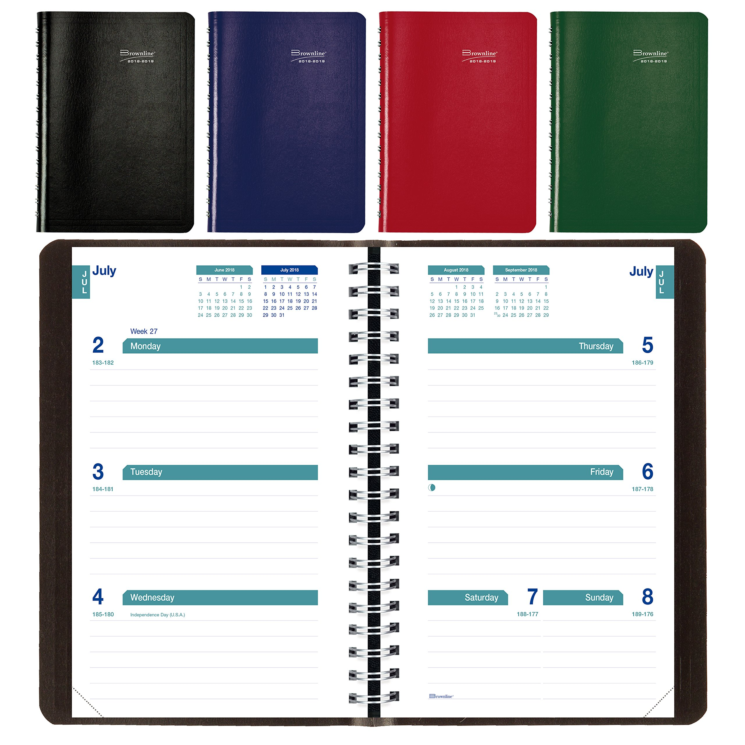 Brownline 2018-2019 Weekly Academic Planner, 8 x 5, Week to View Diary, July 2018 to July 2019, Assorted Colors (CA101.ASX-19)
