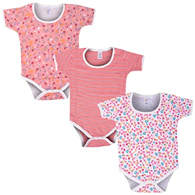 9b31c6f7e Colorfly Soft cotton Baby Girls - Half sleeve Printed bodysuit ...