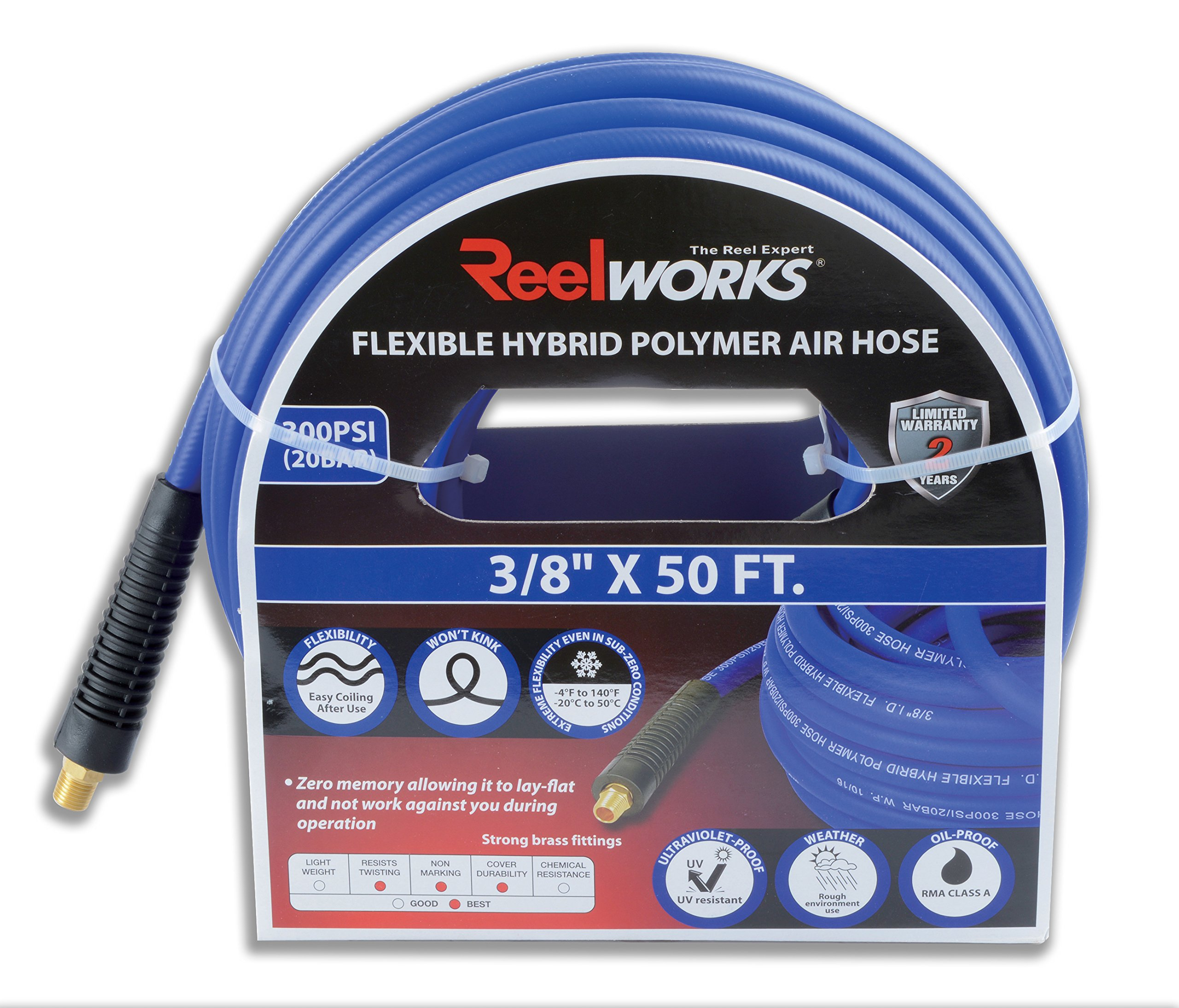 ReelWorks Hybrid Polymer Flexible Air Compressor (3/8'' x 50 ft Blue)