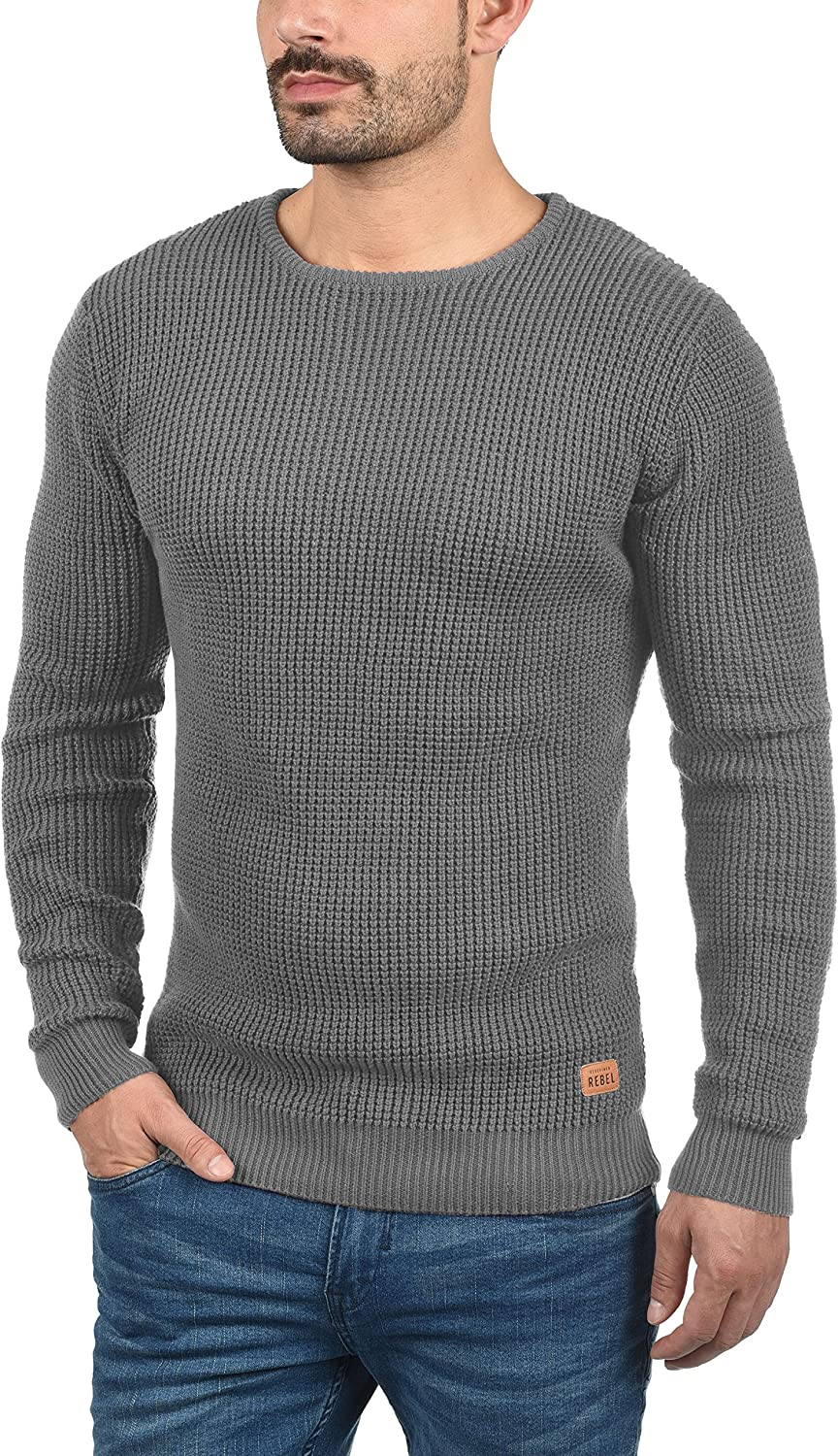 Redefined Rebel Maxwell Mens Jumper Chunky Knit Pullover with Crew Neck Made of 100/% Cotton