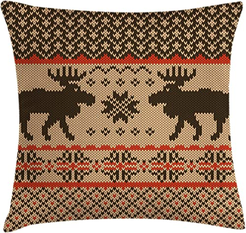Ambesonne Cabin Throw Pillow Cushion Cover, Knitted Swatch with Deers and Snowflakes Classical Country Plaid Digital, Decorative Square Accent Pillow Case, 24 X 24 , Vermilion Brown