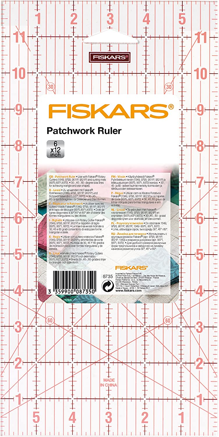 """8735 Patchwork Quilting Couture Rotary Cutter Fiskars Acrylique Règle 6/"""" x 12/"""""""