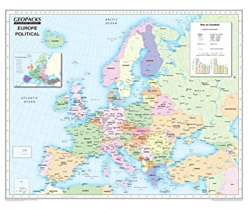 Childrens Map Of Europe   Reversible Political/Physical Laminated Wall Map