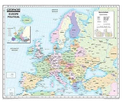 Cartina Europa Con Capitali E Stati.Mappa D Europa Per Bambini Reversibile Politica Fisica Laminata