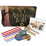 My Adventure Book - Up Pixar Movie DIY Scrapbook With Glue Dots, Letters, Numbers Assorted Corner Stickers. Create the Perfect Adventure Photo Album (Color: Gold)