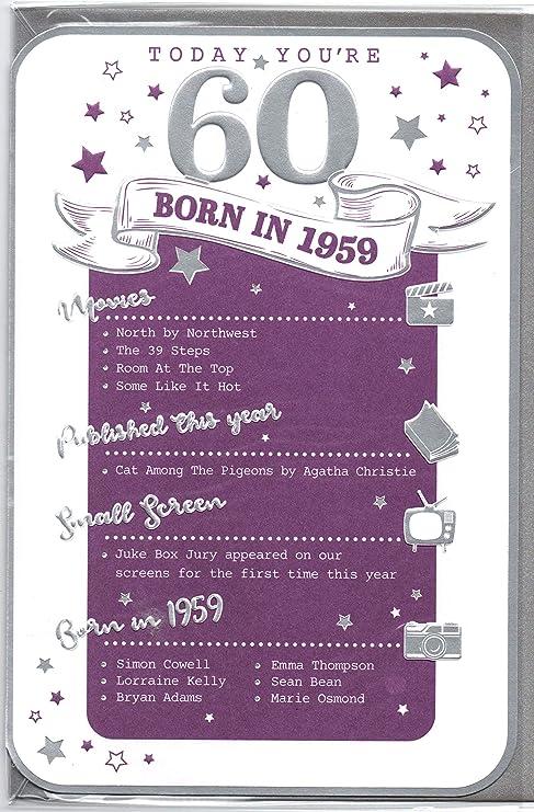 Biglietto Per Auguri Di Compleanno 60 Anni Color Rosa 1957