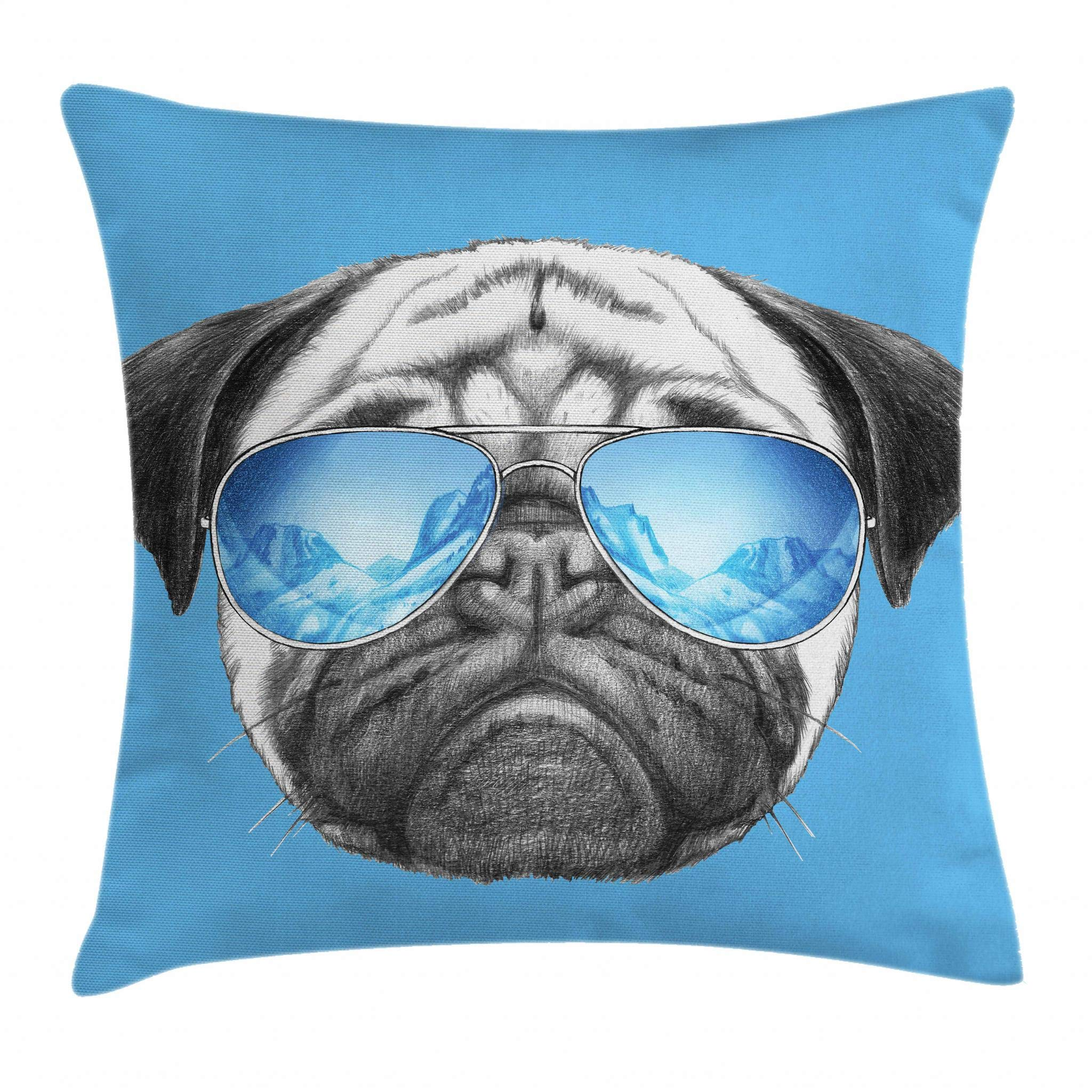 Ambesonne Pug Throw Pillow Cushion Cover, Pug Portrait with Mirror Sunglasses Hand Drawn Illustration of Pet Animal Funny, Decorative Square Accent Pillow Case, 16 X 16 Inches, Pearl Blue Black