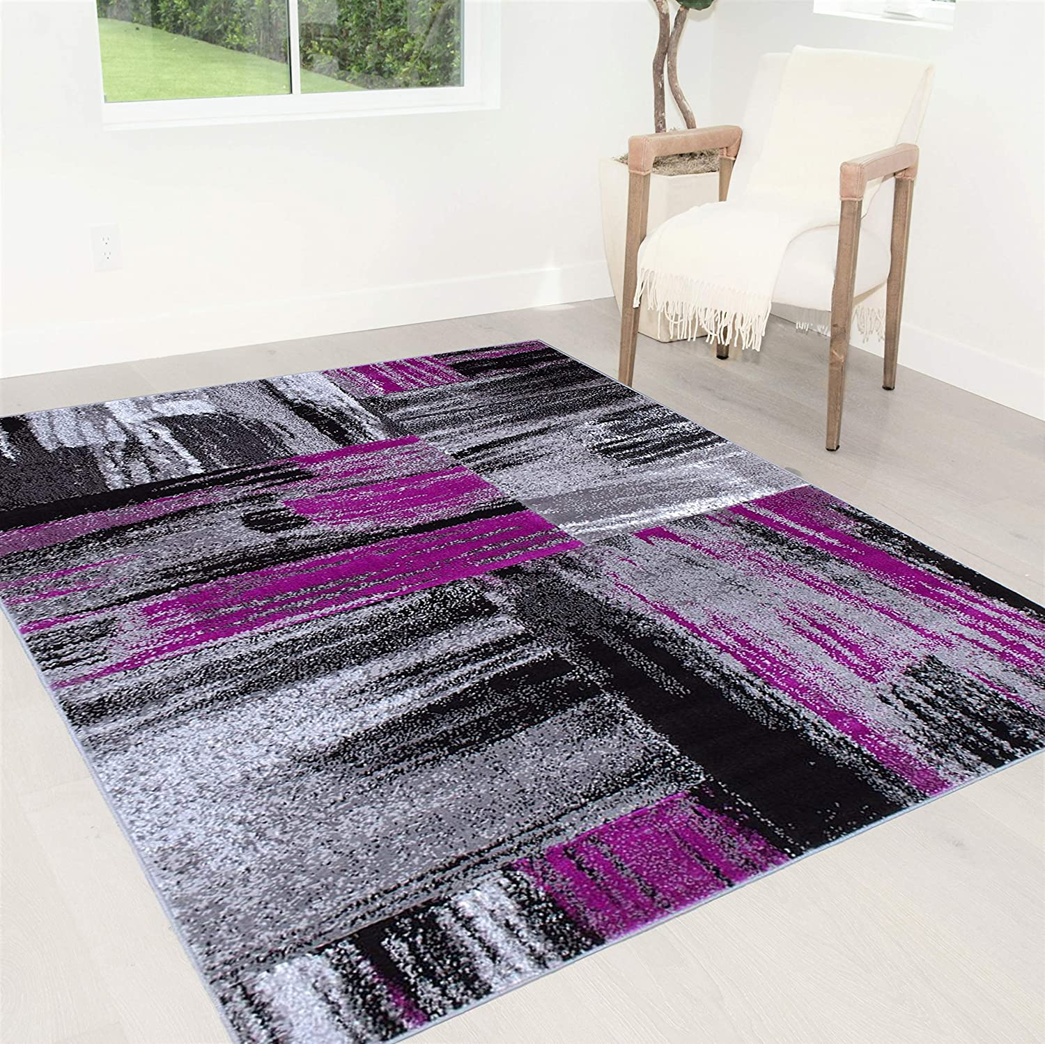 Handcraft Rugs Purple Gray Silver Black Abstract Contemporary Modern Brush Design Mixed Colors Area Rug Kitchen Dining