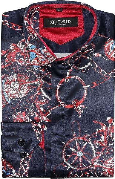 XPOSED Camisa retro de seda impresa para hombre, estilo italiano y rojo marino