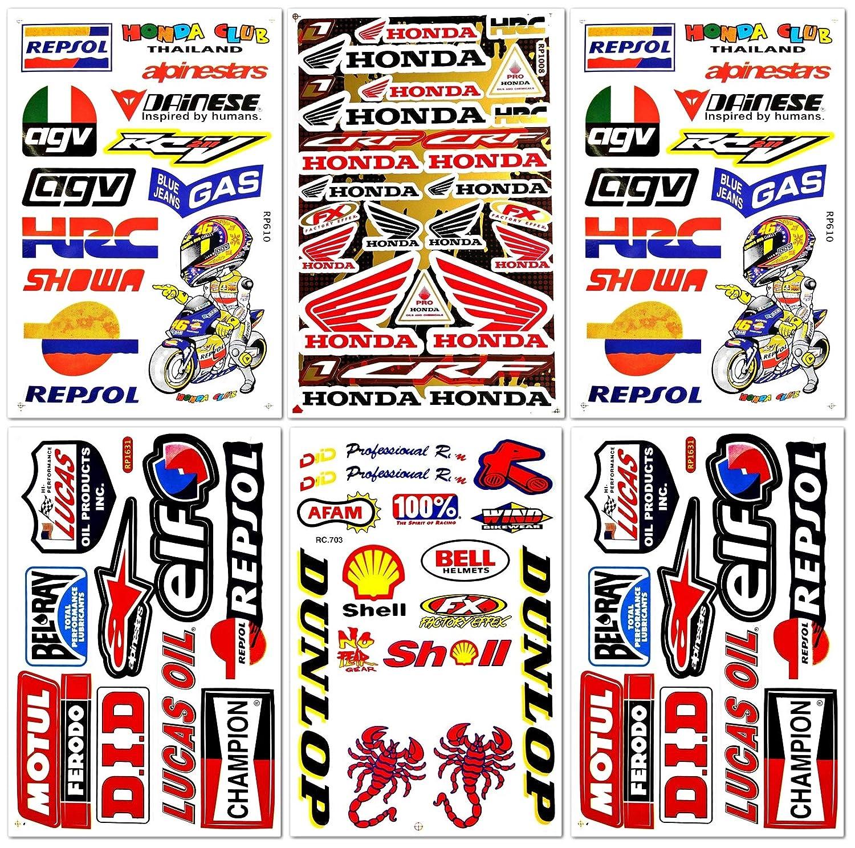 ダートバイク MotoGP モトクロス オートバイ バイク ATV パーツ レース アクセサリー スポンサー ガレージ ツールボックス レーシング モトス ロゴ ヘルメットシート Grafitti キット 6枚 ビニール グラフィック デカールとステッカーセット D6722 Best4Buy