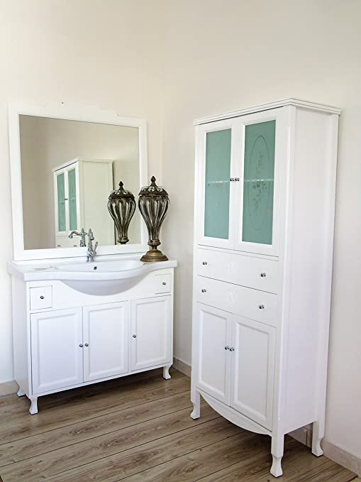 Le Chic Arredo bagno contemporaneo shabby colonna con vetro decorate ...