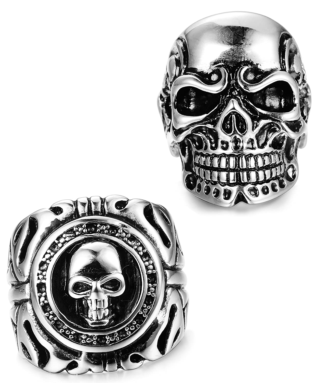 FUNRUN JEWELRY 2 PCS Stainless Steel Ring Men Teens Skull Biker Ring