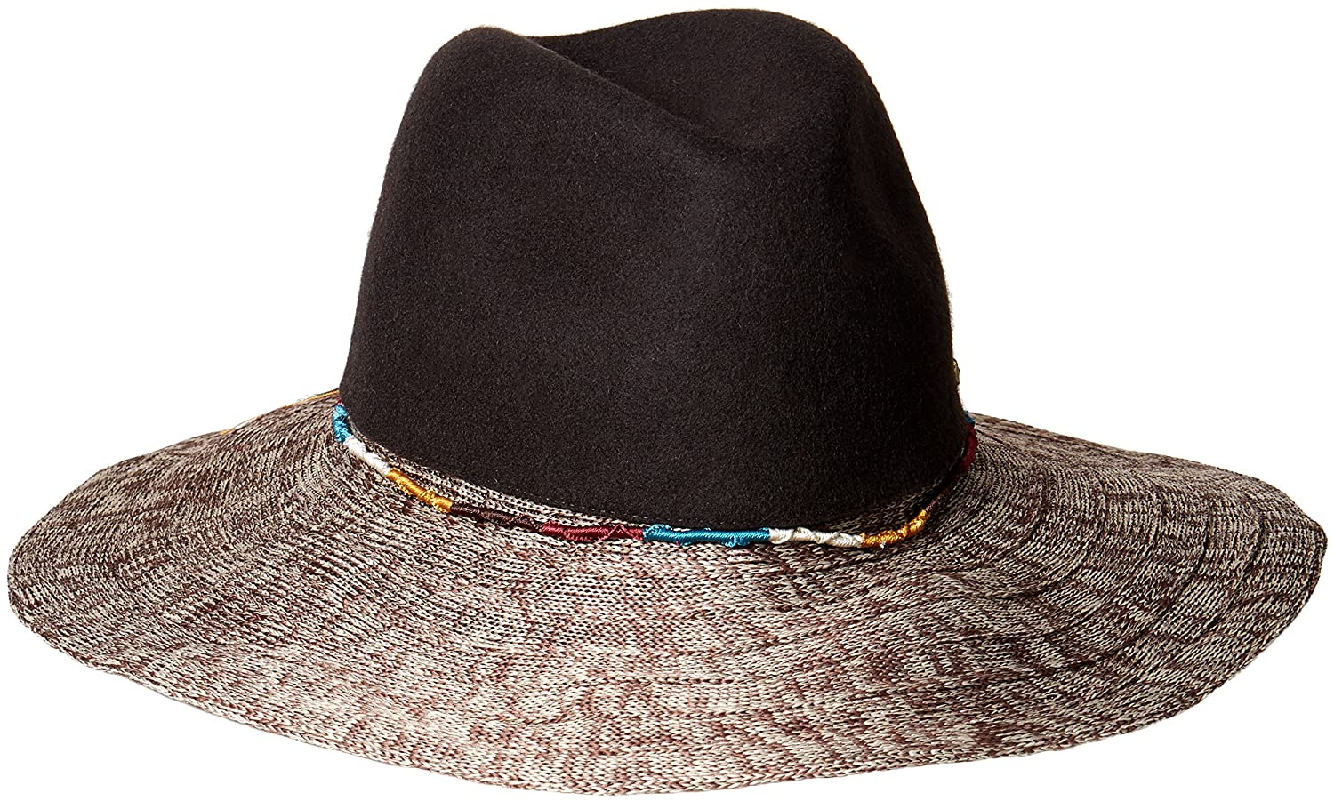 San Diego Hat Company Women's Pinched Wool Crown Fedora Knitted Brim and Cord