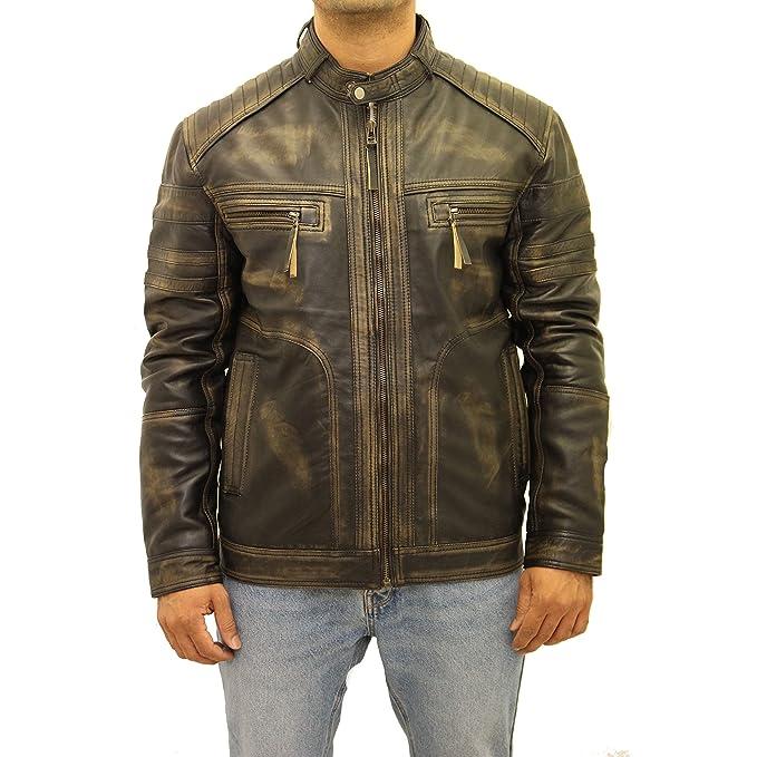 El negro para hombre acolchó el ajuste delgado sofisticado que compite con la chaqueta del motorista: Amazon.es: Ropa y accesorios