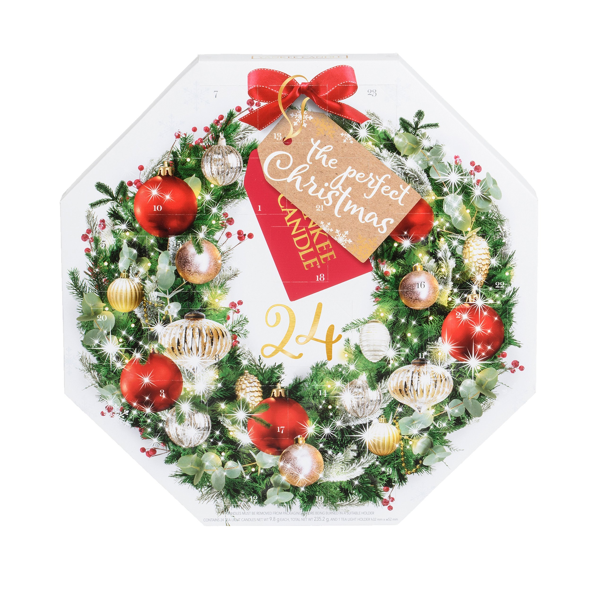 Yankee Candle Advent Calendar 2017 Wreath Scented Tea Light Candles Set