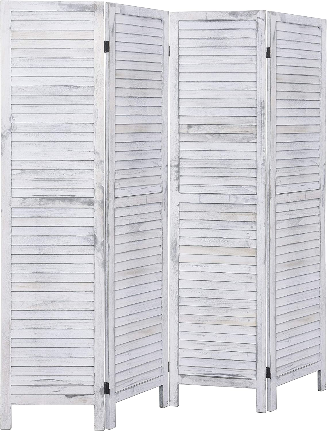 Rose Home Fashion 4 Panel 5.6 Ft Tall Wood Room Divider, Wood Folding Room Divider Screens, Panel Divider&Room Dividers, Room Dividers and Folding Privacy Screens (4 Panel, Coconut)