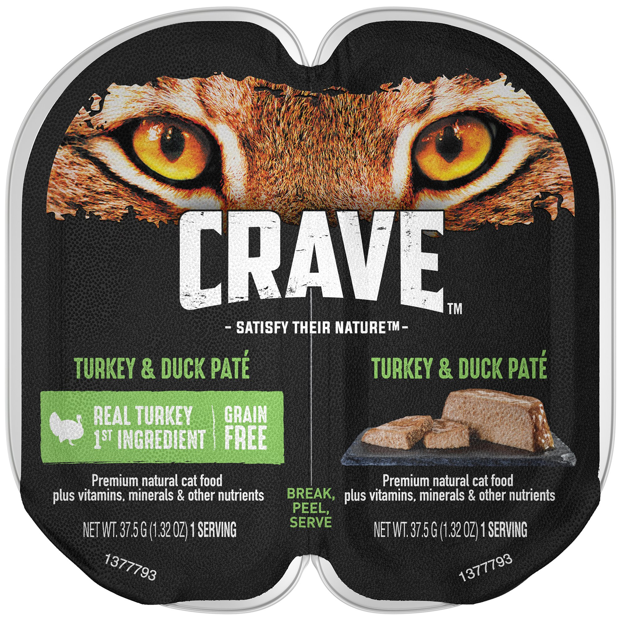 Crave Grain Free Adult High Protein Wet Cat Food Paté Turkey & Duck, (24) 2.6 Oz. Twin-Pack Trays by CRAVE
