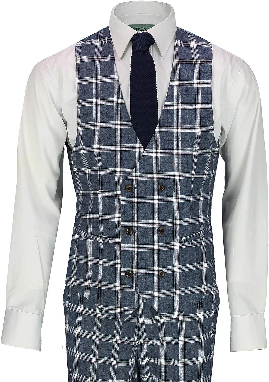 Herren 3 St/ück Anzug Retro Ma/ßgeschneidert Grau Blau Gitter /Überpr/üft Zweireihige Weste Jacke Hosen