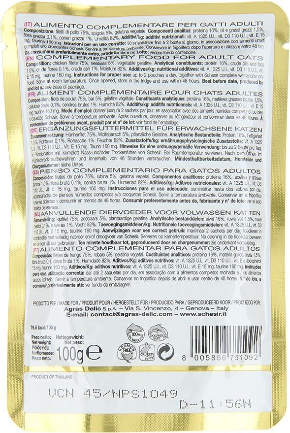 Schesir, Comida húmeda para Gatos Adultos, Sabor filetes de Pollo con lubina en gelatina Blanda - Total 2 kg (20 Sobres x 100 gr)