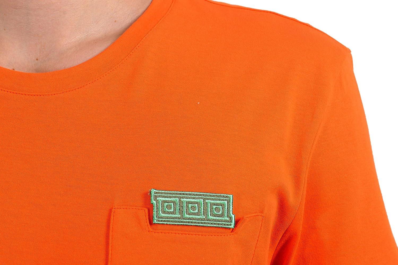 Versace Collection Mens Orange Pocket Crewneck T-Shirt Size US M IT 50