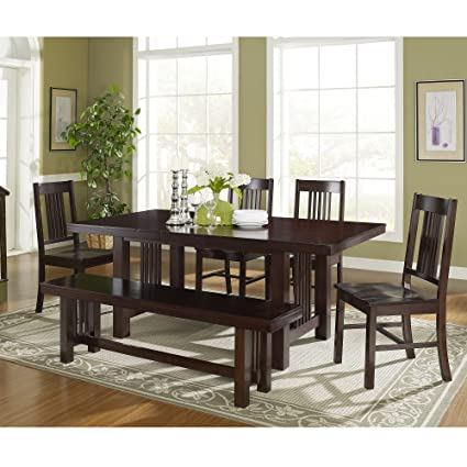 Exceptional 6 Piece Solid Wood Dining Set, Cappuccino