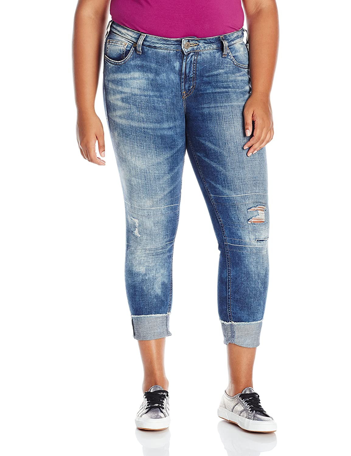 Silver Jeans Women's Plus Size Destructed Girlfriend Jean