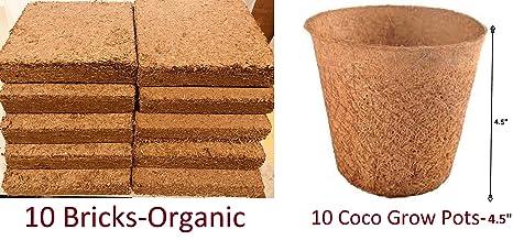 Coco Bliss Premium Coco Coir Brick 250g & Coco Grow Pot, OMRI Listed for  Organic Use (10 Bricks + 10 Coco Pots)