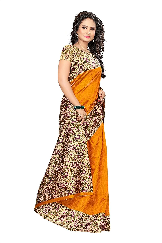 Orange Women's Silk Saree with Blouse