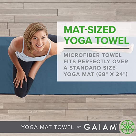 Gaiam Yoga Mat Towel Microfiber Mat-Sized Yoga Towel for Hot Yoga