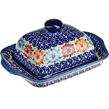 Classic Boleslawiec, Polish Pottery Hand Painted Stoneware Butter Dish with lid 067-U-004